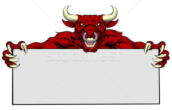 Bull Sports Mascot Sign Stock photo © Krisdog