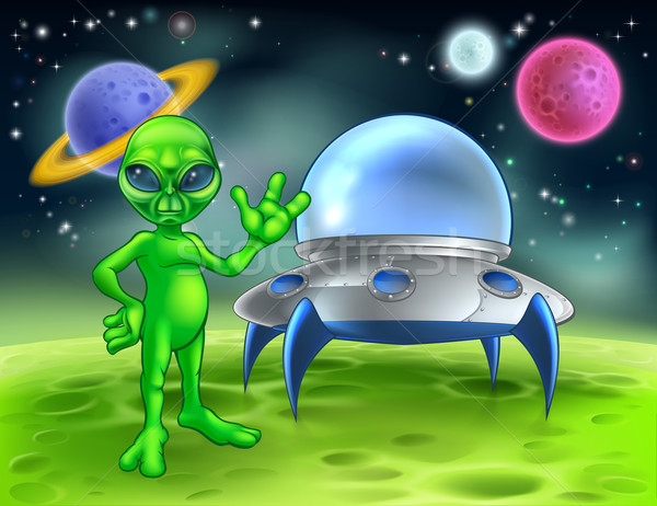 Stock photo: Alien and Flying Saucer on Moon