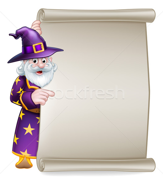 Cartoon Wizard Halloween Scroll Sign Stock photo © Krisdog