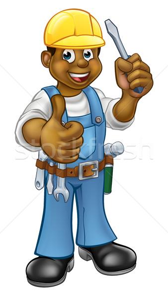 Zwarte elektricien schroevendraaier klusjesman Stockfoto © Krisdog