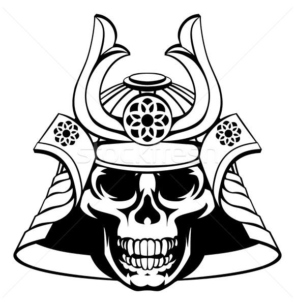 Crânio samurai guerreiro máscara capacete arte Foto stock © Krisdog