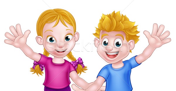 Cartoon Boy and Girl Kids Stock photo © Krisdog