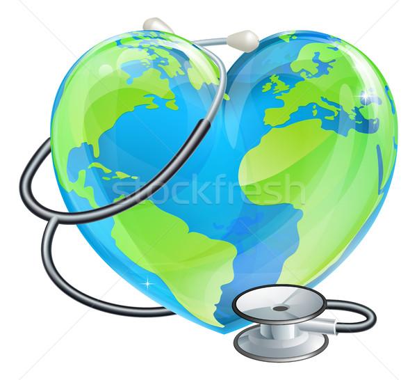 Szív földgömb sztetoszkóp Föld világ egészség Stock fotó © Krisdog