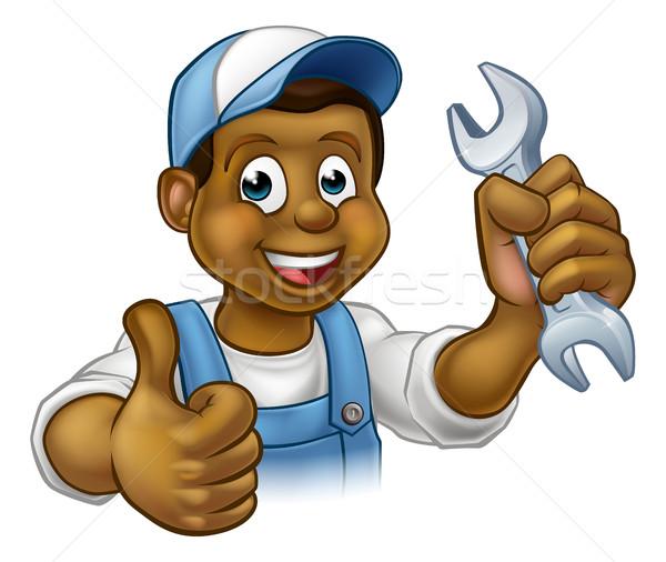 Mechanic or Plumber Handyman With Spanner Stock photo © Krisdog