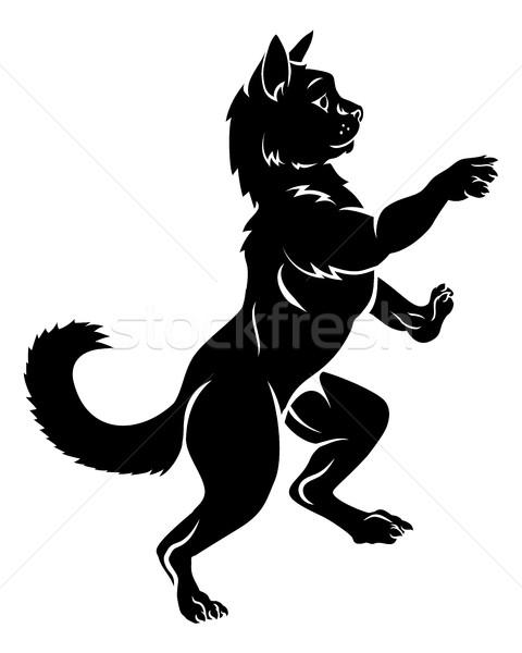 Pet Cat in Coat of Arms Rampant Heraldic Pose Stock photo © Krisdog