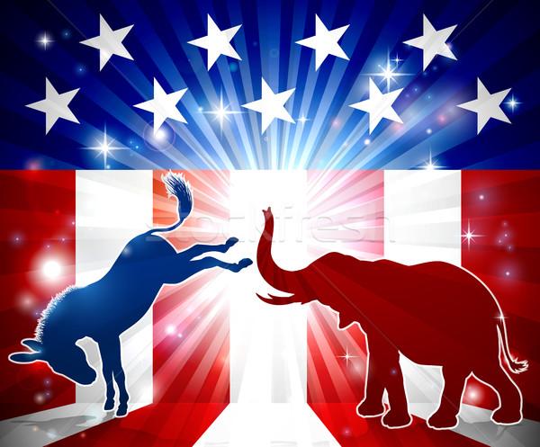 Burro elefante silhuetas silhueta bandeira americana Foto stock © Krisdog