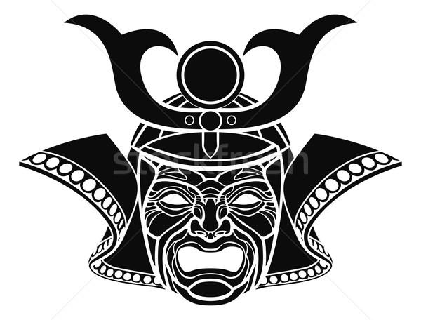 Samurai máscara ilustração monocromático laranja cabeça Foto stock © Krisdog
