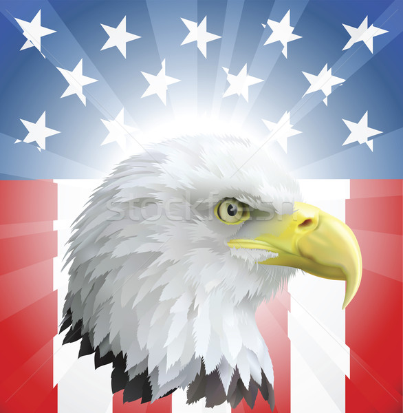 Patriotic American Eagle and Flag Stock photo © Krisdog