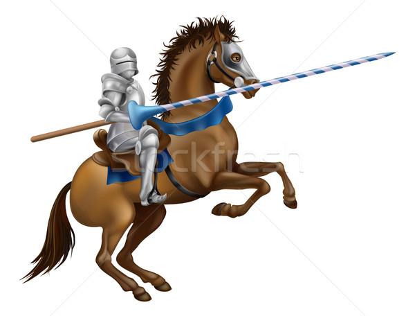 Ridder tekening pantser paard Maakt een reservekopie Stockfoto © Krisdog