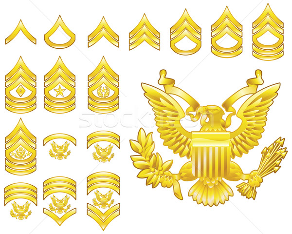 american army enlisted rank insignia icons Stock photo © Krisdog