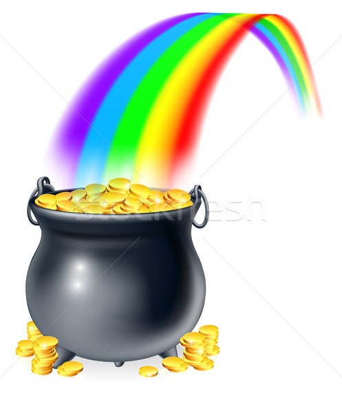 Pot of gold at the end of the rainbow Stock photo © Krisdog