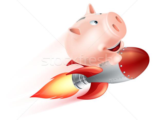 Сток-фото: Flying · ракета · Piggy · Bank · иллюстрация · верховая · езда · воздуха