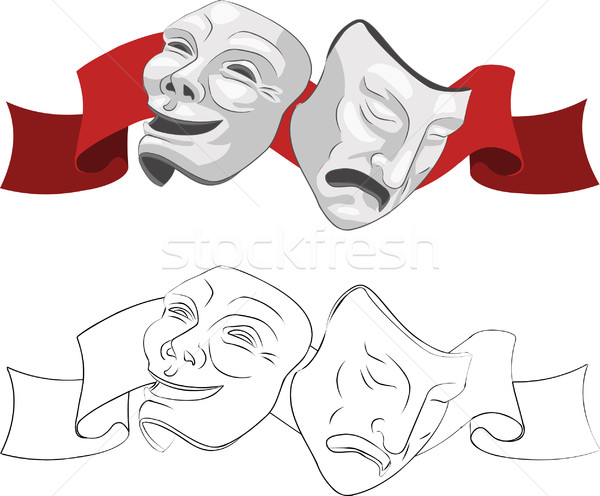 Theater komedie tragedie maskers triest film Stockfoto © Krisdog