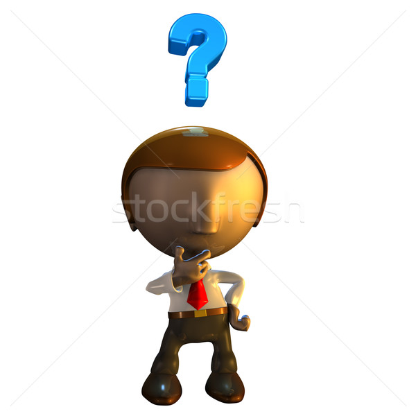 3d business man character with question mark Stock photo © Krisdog