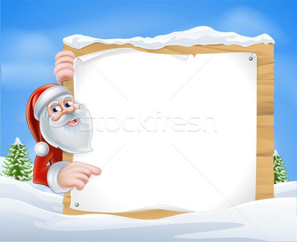 Stock photo: Christmas Cartoon Santa Sign