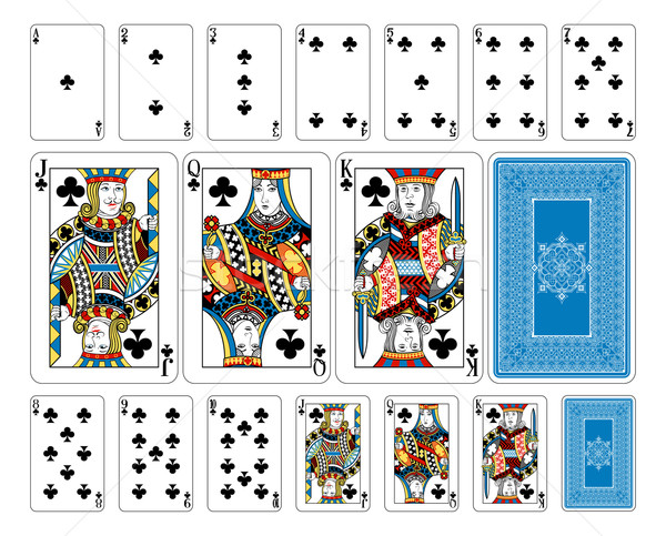 Bridge size Club playing cards plus reverse Stock photo © Krisdog