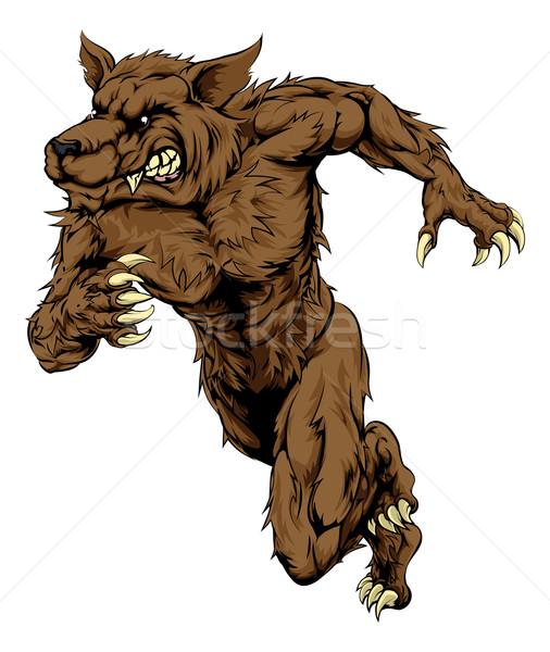 Weerwolf wolf mascotte lopen illustratie karakter Stockfoto © Krisdog
