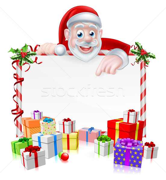 Cartoon Santa Sign Stock photo © Krisdog