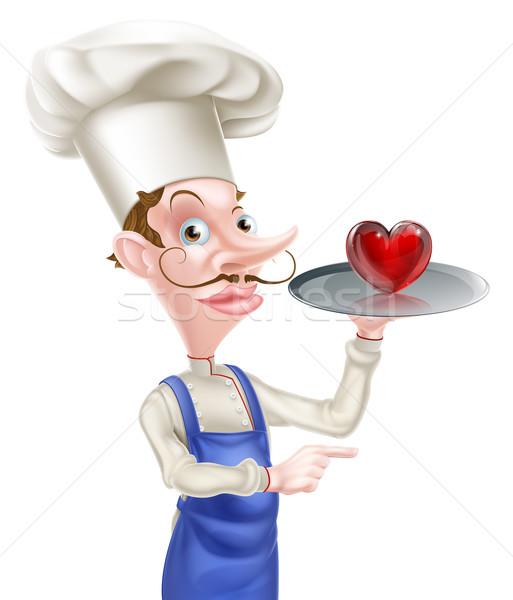 Szív szakács mutat illusztráció rajz tart Stock fotó © Krisdog