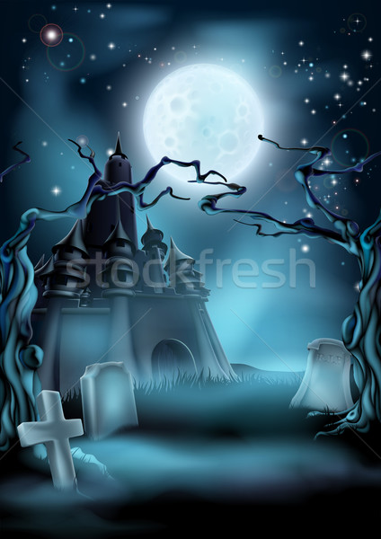 Graveyard and Castle Halloween Background Stock photo © Krisdog