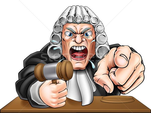 Mérges bíró rajz rajzfilmfigura sikít mutat Stock fotó © Krisdog