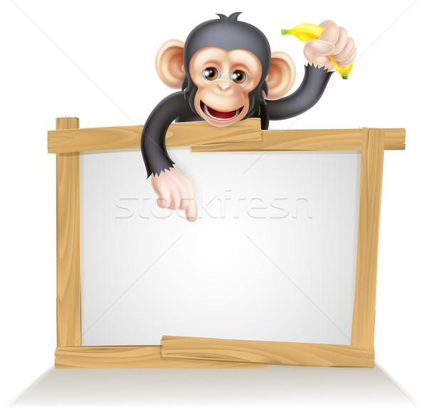 Rajz csimpánz felirat majom ahogy karakter Stock fotó © Krisdog