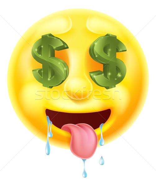 Cifrão olhos emoticon ícone negócio Foto stock © Krisdog