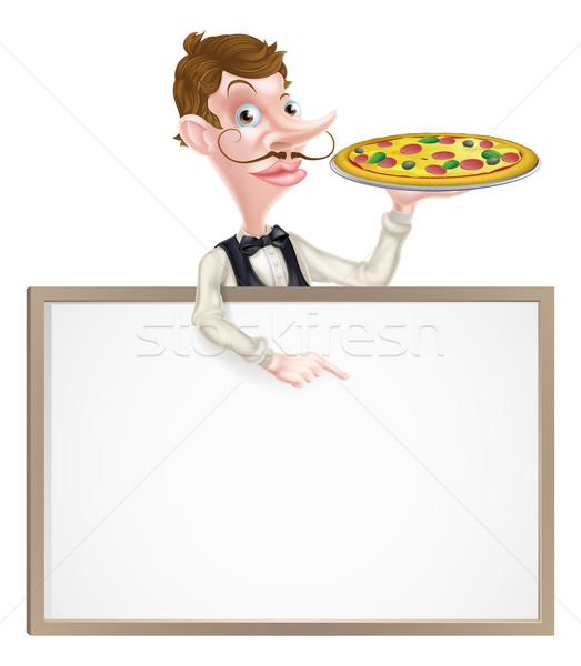 Pizza pincér felirat illusztráció rajz tart Stock fotó © Krisdog