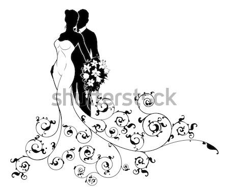 Bride Silhouette Holding Flowers Stock photo © Krisdog