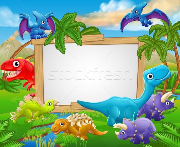 Cartoon Dinosaurs Sign Stock photo © Krisdog