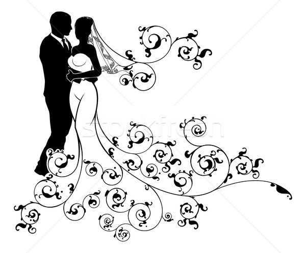 Silhouette Bride and Groom Wedding Illustration Stock photo © Krisdog