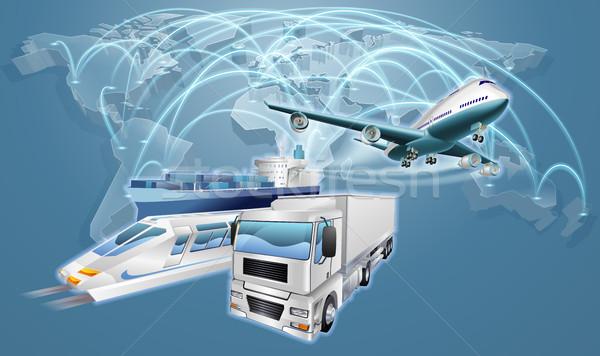 Lojistik dünya ticaret harita dünya haritası uçuş Stok fotoğraf © Krisdog
