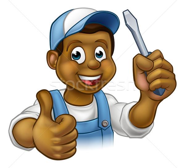 Black Cartoon Electrician Handyman Screwdriver Stock photo © Krisdog