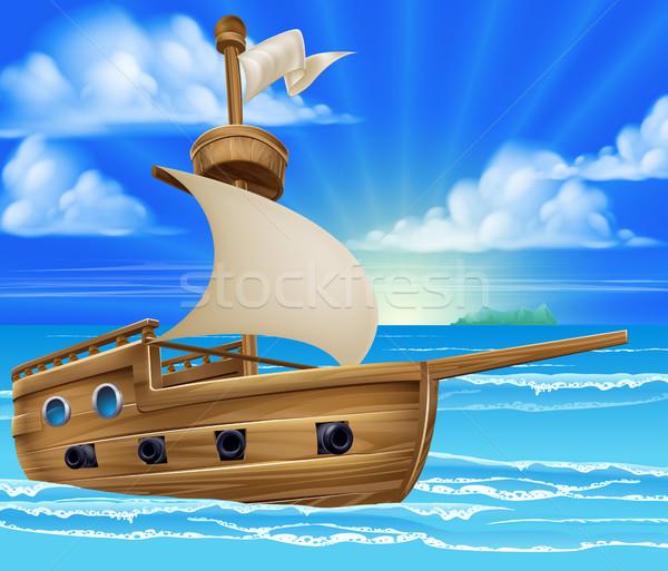 Cartoon Sailing Ship Stock photo © Krisdog