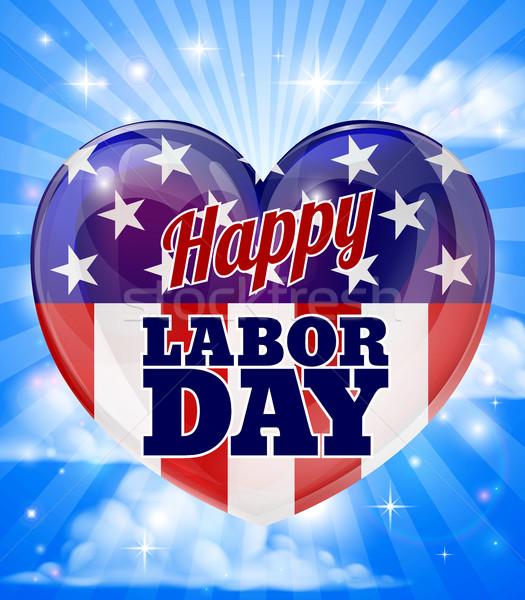Munka nap amerikai zászló szív boldog terv Stock fotó © Krisdog