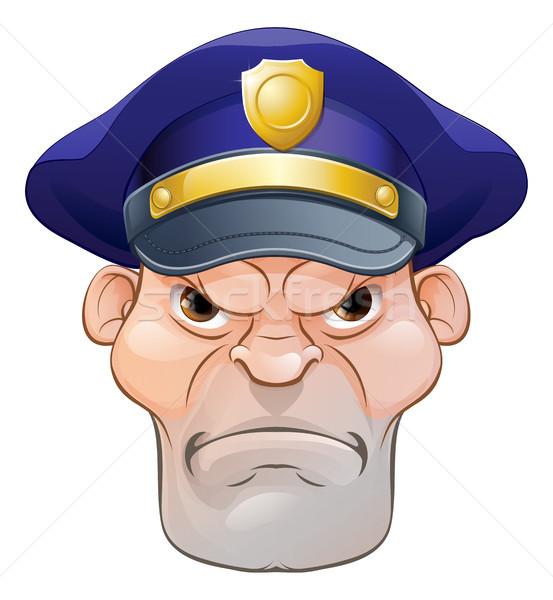 сердиться Cartoon полицейский глядя жесткий Сток-фото © Krisdog