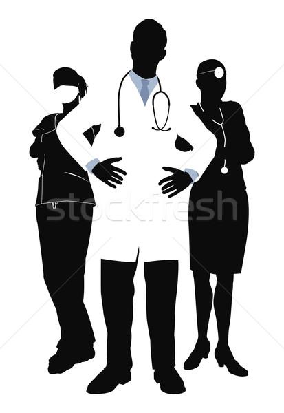 Medische team illustratie drie vrouw werk Stockfoto © Krisdog