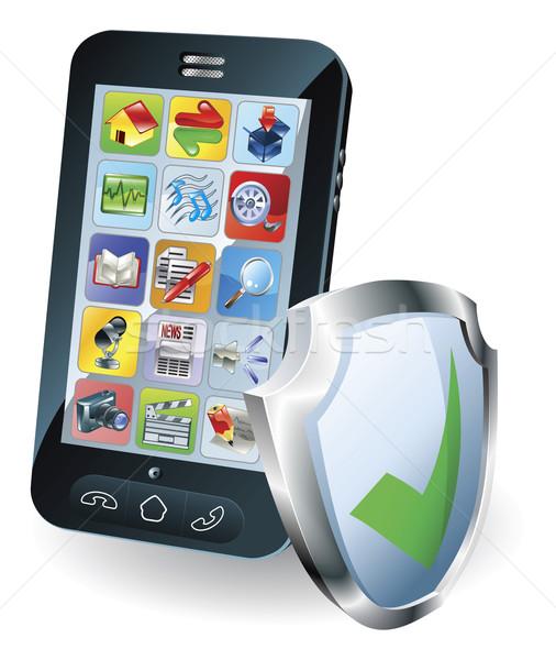 Stok fotoğraf: Cep · telefonu · güvenlik · kalkan · ikon · korumalı · güvenli