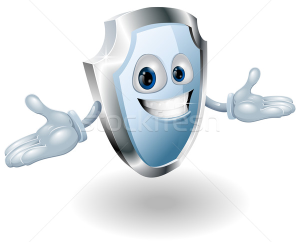Bouclier sécurité personnage mascotte illustration souriant Photo stock © Krisdog