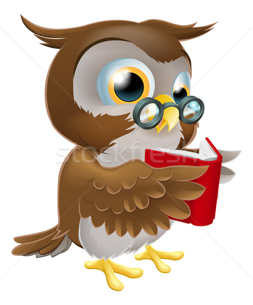 Cartoon Owl Reading a Book Stock photo © Krisdog