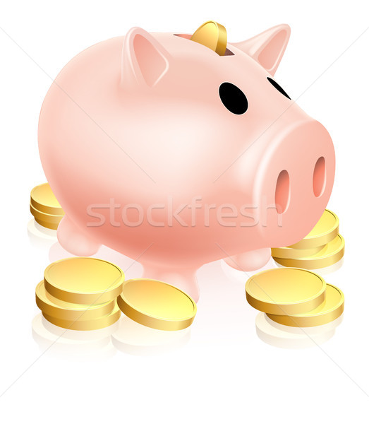 Zdjęcia stock: Banku · piggy · złote · monety · ilustracja · ceny · polu · około