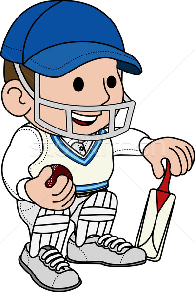 Illustration of cricketer Stock photo © Krisdog