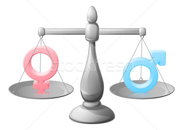 символ Весы равенство человека женщину Сток-фото © Krisdog