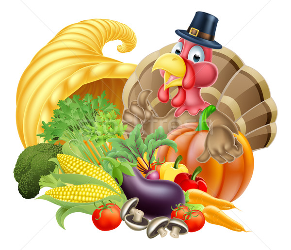 Thanksgiving Turkey and Cornucopia Stock photo © Krisdog