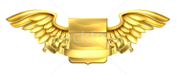 Golden Winged Shield Scroll Design Stock photo © Krisdog