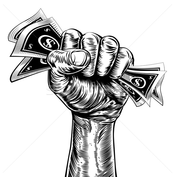Revolution fist holding money concept Stock photo © Krisdog