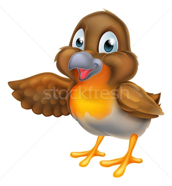 Desenho animado pássaro indicação asa primavera Foto stock © Krisdog