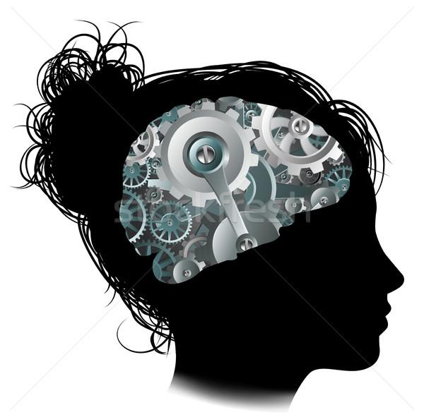 Machine engins cerveau femme silhouette Photo stock © Krisdog