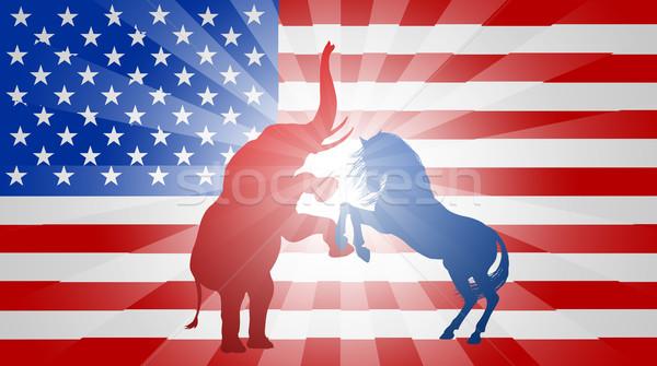 Americano eleição bandeira burro elefante Foto stock © Krisdog