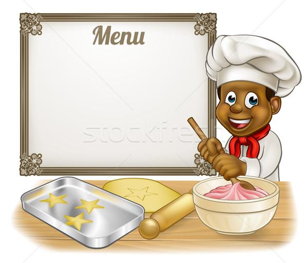 Black Baker or Pastry Chef Menu Sign Stock photo © Krisdog